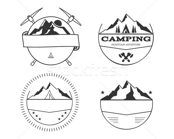 набор Vintage летний лагерь жетоны Открытый логотип Сток-фото © JeksonGraphics