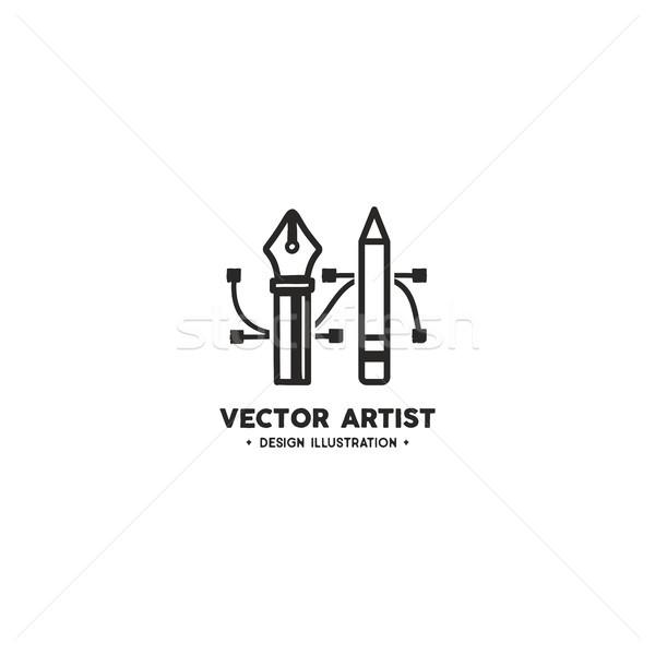Vecteur artiste logo modèle crayon stylo Photo stock © JeksonGraphics
