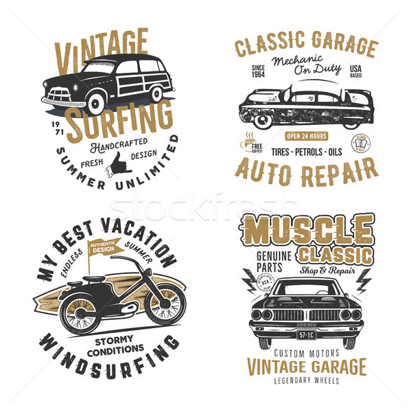 Vintage hand drawn tee prints set. Surf print design, old garage, car service, auto repair emblems p Stock photo © JeksonGraphics