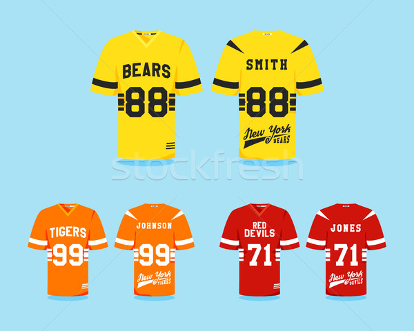 American football uniform collection, t-shirt design with team logos, labels, badges. Can be use in  Stock photo © JeksonGraphics