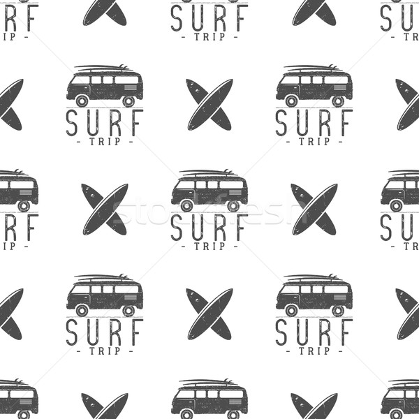 Surfing trip pattern design. Summer seamless  with surfer van, surfboards. Monochrome combi car. Vec Stock photo © JeksonGraphics
