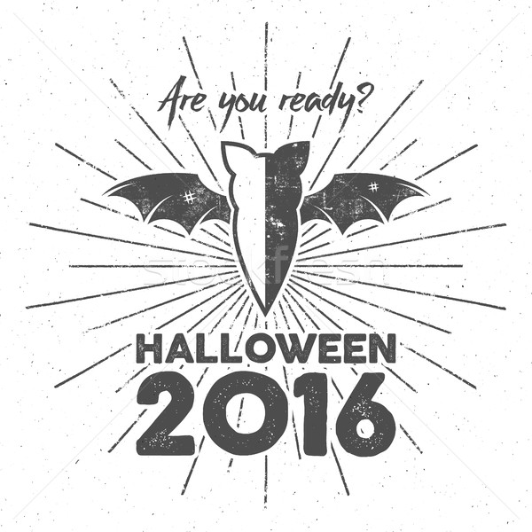 Happy Halloween 2016 Poster. Are you ready lettering and halloween holiday symbols - bat, pumpkin, h Stock photo © JeksonGraphics