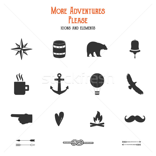 Outdoor icons and elements set for creation hiking, camping logo other designs. Solid flat s isolate Stock photo © JeksonGraphics