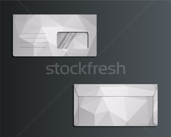 Brand identity template. Envelope. Front and back sides. Unusual and unique polygonal design. Triang Stock photo © JeksonGraphics