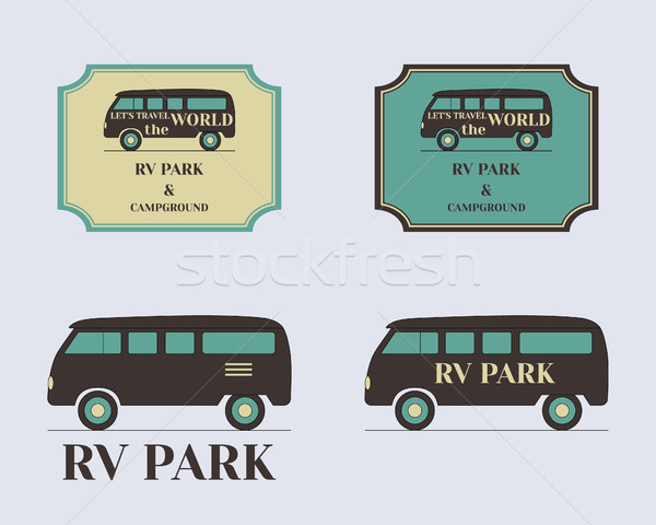 Set of vintage outdoor camp badges and logo emblems. Lovely retro colors. Rv and motorhome design. V Stock photo © JeksonGraphics