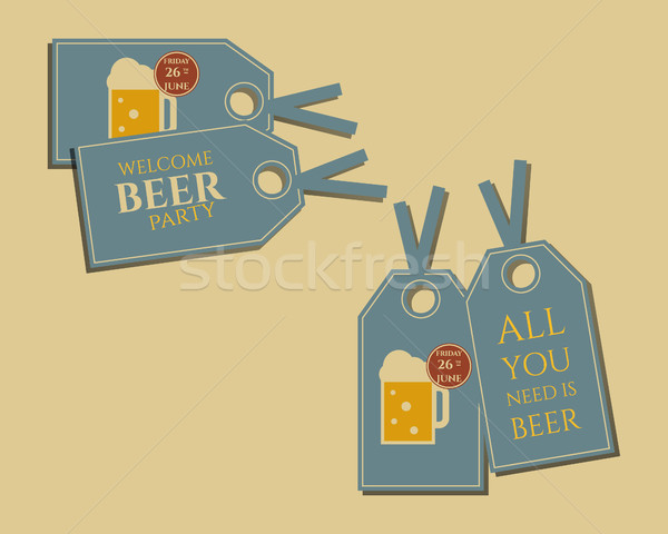 Beer party stickers and labels invitation template with glass of beer. Vintage design for club, pub  Stock photo © JeksonGraphics