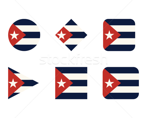 Set of buttons, icons or logo templates with flag of Cuba. Vector Stock photo © JeksonGraphics