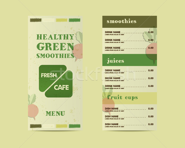 Organic, green cafe menu vector concept. Fresh elements for cafe or restaurant with energetic fresh  Stock photo © JeksonGraphics