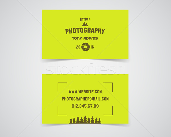Modern light Business card template for nature photography studio. Unusual design. Corporate brand i Stock photo © JeksonGraphics