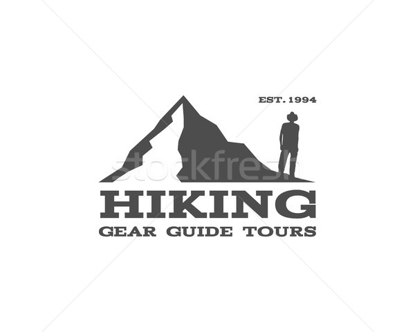Outdoor, hiking, travel badge, label. Tourism emblem. Can be used as logo for camping shop, mountain Stock photo © JeksonGraphics