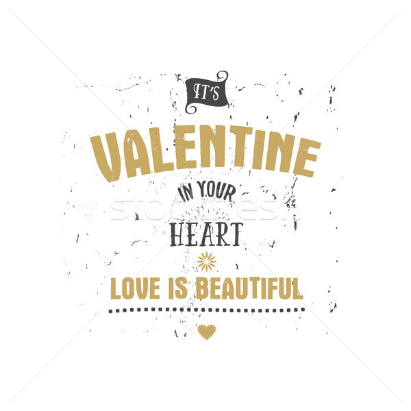 Stock photo: Happy Valentines Day vector lettering. Typography photo overlays, hand drawn text design label, insp
