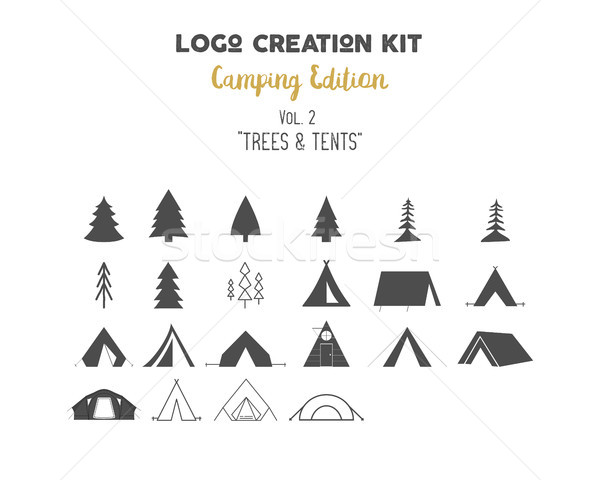 Logo-ul creare camping set copaci Imagine de stoc © JeksonGraphics