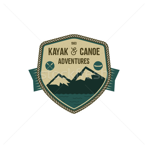 Kayak and Canoe adventures badge. Scout adventure camp emblem. Vintage hand drawn design. Retro colo Stock photo © JeksonGraphics