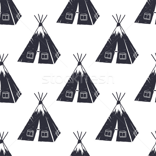 Vintage hand drawn hiking adventure pattern design. Camping seamless wallpaper with tent Monochrome  Stock photo © JeksonGraphics