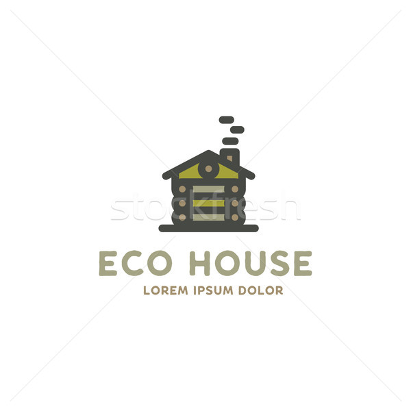 Eco house logo template. Flat design concept of eco house, wooden house. Stock vector logotype isola Stock photo © JeksonGraphics