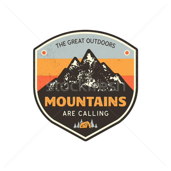Vintage hand drawn mountains emblem. The great outdoor patch. Mountains are calling sign quote. Retr Stock photo © JeksonGraphics