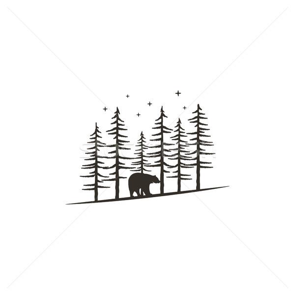 Vintage рисованной лес несут черный монохромный Сток-фото © JeksonGraphics