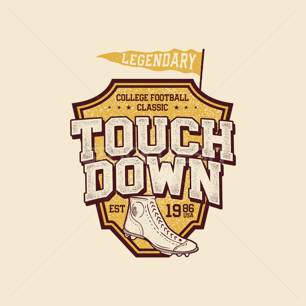 Classic college t shirt design. American football tee graphic design, label. Touchdown sign. USA foo Stock photo © JeksonGraphics