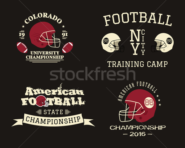 Amerykański piłka nożna mistrzostwo zespołu szkolenia obozu Zdjęcia stock © JeksonGraphics