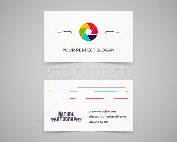 Modern light Business card template for photography studio, photograpgers. Unusual design. Corporate Stock photo © JeksonGraphics