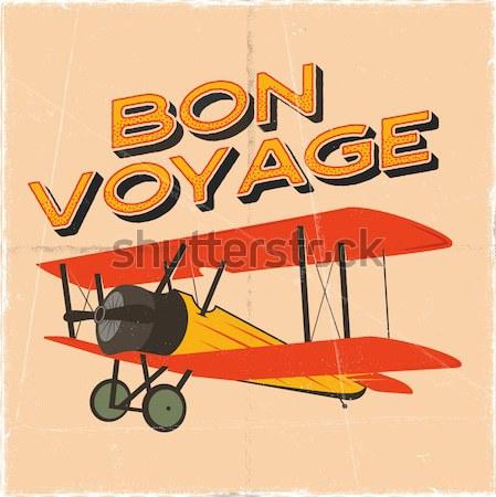 Klasszikus repülőgép tipográfia poszter öreg kétfedelű repülőgép Stock fotó © JeksonGraphics