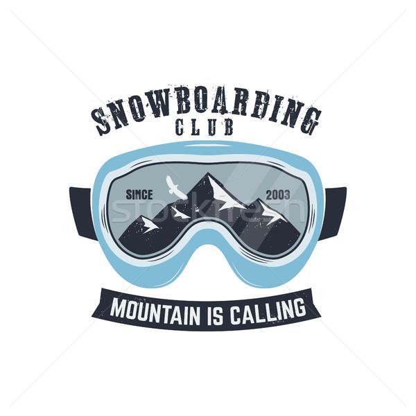 сноуборд темные очки логотип Label шаблон зима Сток-фото © JeksonGraphics
