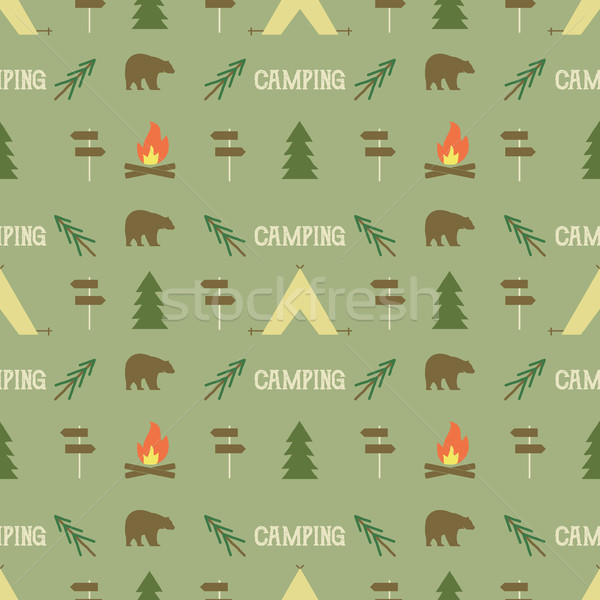 Stockfoto: Camping · communie · patroon · naadloos · behang · ontwerp