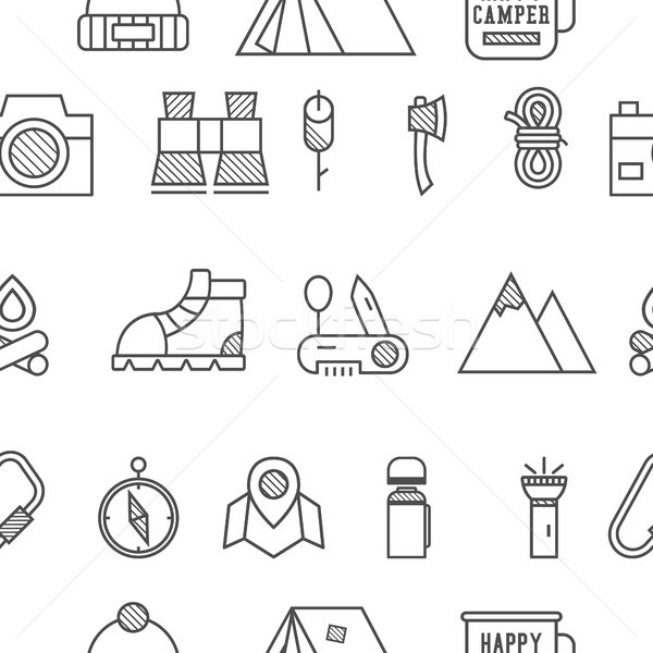 Camp, travel seamless pattern with thin line icon style, flat design. Mountain and climbing theme wi Stock photo © JeksonGraphics
