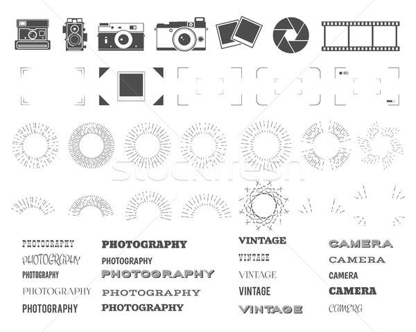 Photography vintage and retro symbols, ribbons, frames, sunburst elements. Make your own icons, badg Stock photo © JeksonGraphics