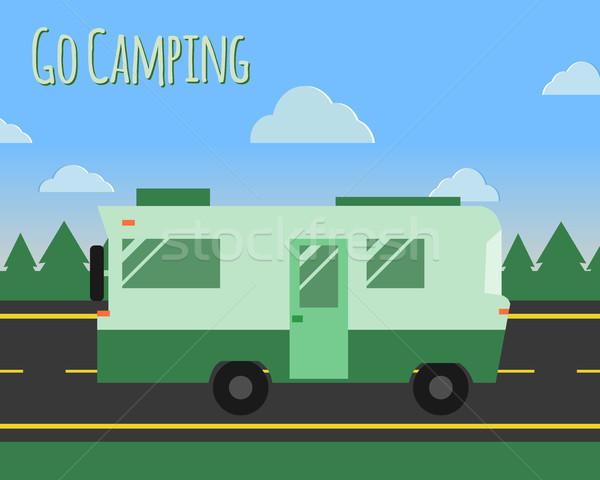Campo estivo viaggio poster logo badge strada Foto d'archivio © JeksonGraphics