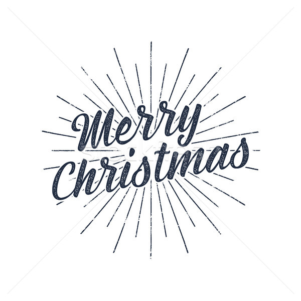 Merry Christmas typography label. Retro photo overlay, badge. holiday lettering illustration. Xmas g Stock photo © JeksonGraphics