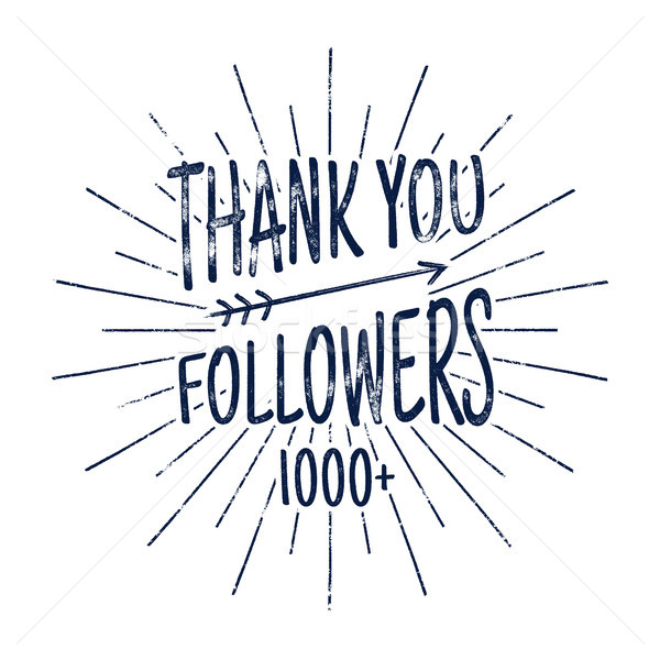 Vintage Thank you 1000 followers badge. Social media label and sticker. Handwriting lettering with h Stock photo © JeksonGraphics