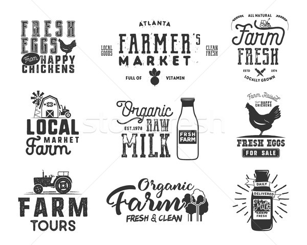 Farmer s Market, organic food, milk and eggs badges set. Fresh and Local product logo designs. Typog Stock photo © JeksonGraphics