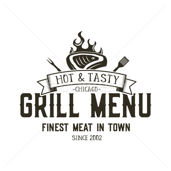 Stock photo: Grill menu emblem template. Steak house restaurant logo design with bbq symbols - meat, fire, barbeq
