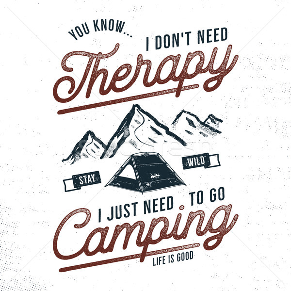 Vintage hand drawn camping t shirt design. Wanderlust, thematic tee graphics. Typography poster with Stock photo © JeksonGraphics