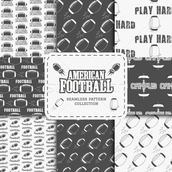 College american football team seamless pattern collection in retro style. Graphic vintage design fo Stock photo © JeksonGraphics