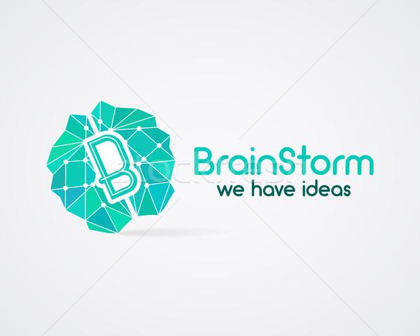 Brainstorm, brain, creation and idea logo template and elements. Idea creation business company logo Stock photo © JeksonGraphics