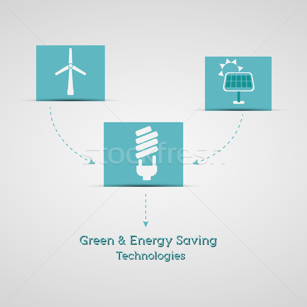 Green and energy saving technologies poster, banner. ecology info graphics collection - ENERGY indus Stock photo © JeksonGraphics