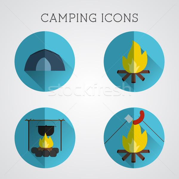 Foto stock: Establecer · camping · símbolos · iconos · diseno