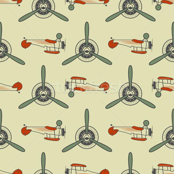 ヴィンテージ 飛行機 パターン 古い プロペラ 要素 ストックフォト © JeksonGraphics