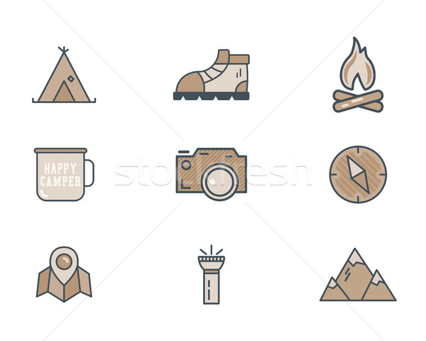 Mountain explorer camp icons in flat style. Travel, hiking, climbing pictograms. Retro color design. Stock photo © JeksonGraphics