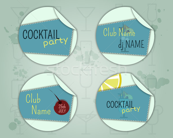 Zomer cocktail party badge label lay-out sjabloon Stockfoto © JeksonGraphics