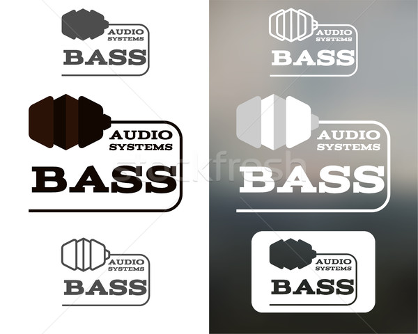 Music audio systems logo, badge, label, logotype, icon. Bass element. Headphones design. In monochto Stock photo © JeksonGraphics