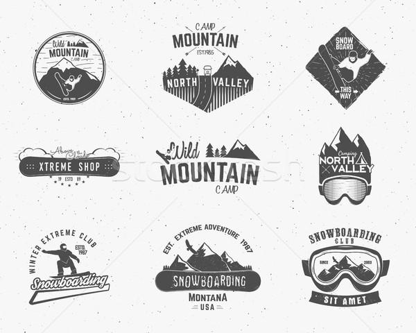 Conjunto montanha acampamento vintage explorador Foto stock © JeksonGraphics
