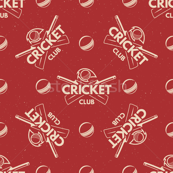 Sport pattern. Cricket retro background. Seamless of accessories. Bat ball symbols. With typography  Stock photo © JeksonGraphics