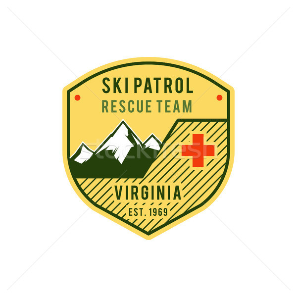 Ski Patrol Label. Retro Mountain winter sports explorer badge. Outdoor mountain adventure logo desig Stock photo © JeksonGraphics