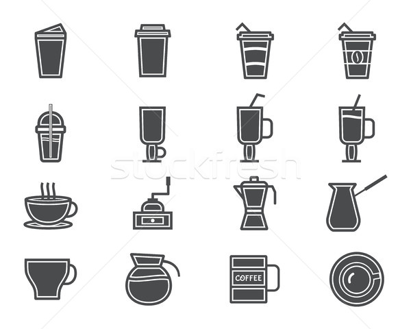 Coffee and cocktails silhouette elements and symbol line icon isolated on white background. Can be u Stock photo © JeksonGraphics