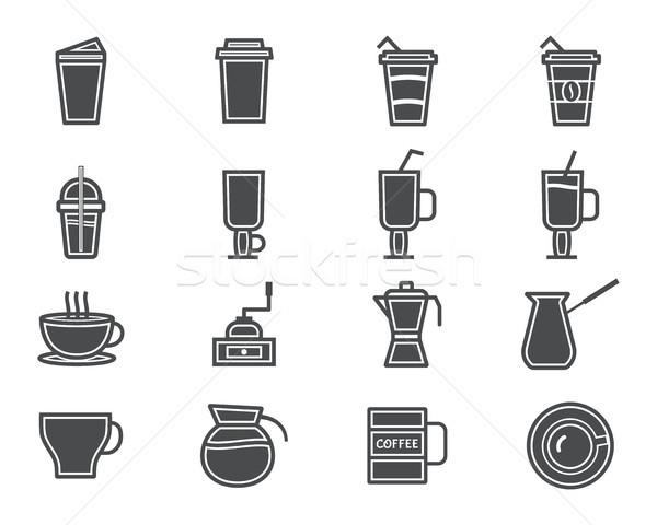 Photo stock: Café · cocktails · silhouette · symbole · ligne