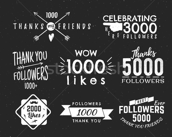 Set of vintage Thank you badges. Social media Followers labels and likes stickers. Handwriting lette Stock photo © JeksonGraphics