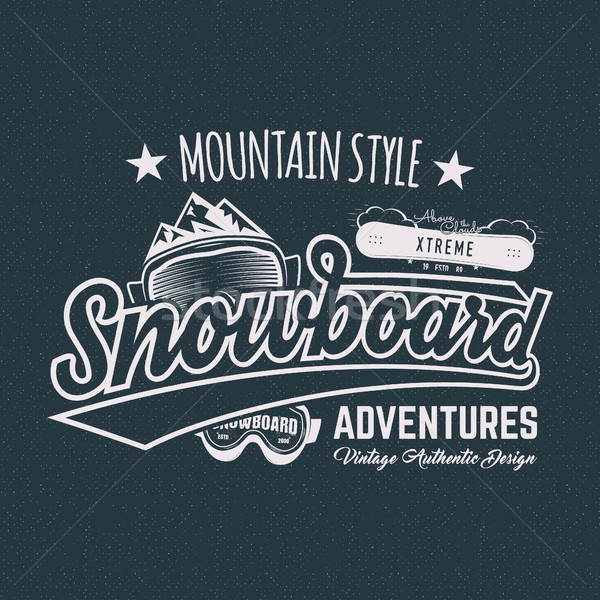 Winter snowboard sports label, t shirt. Vintage mountain style shirt design. Outdoor adventure typog Stock photo © JeksonGraphics